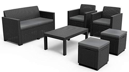 Allibert Merano Lounge Set, graphite/cool grey (poly cotton cushion) + Cube w Hocker, graphite/cool grey (poly cotton cushion)