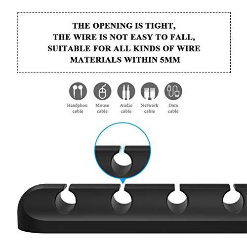 POKIENE 4 Stück Kabelclips Kabelhalter Selbstklebend | Vielzwecke kabelmanagement | Kabelführung Kabel Organizer Set für Schreibtisch, Netzkabel, USB Ladekabel, Ladegeräte, Audiokabel - Schwarz