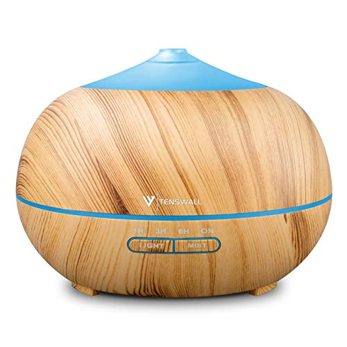Diffusers for Essential Oils, 400ml Ultrasonic Essential Oil Diffuser, Wood Grain Cool Mist Aromatherapy Humidifier with Adjustable Mist Mode for Home Yoga Office