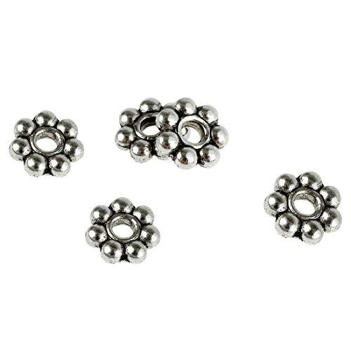Schmuckperlen, 6 mm, Gänseblümchen-Design, Antik-Silber, Zinnguss, Metallperlen für Armbänder, Schmuckherstellung, ca. 100 Stück