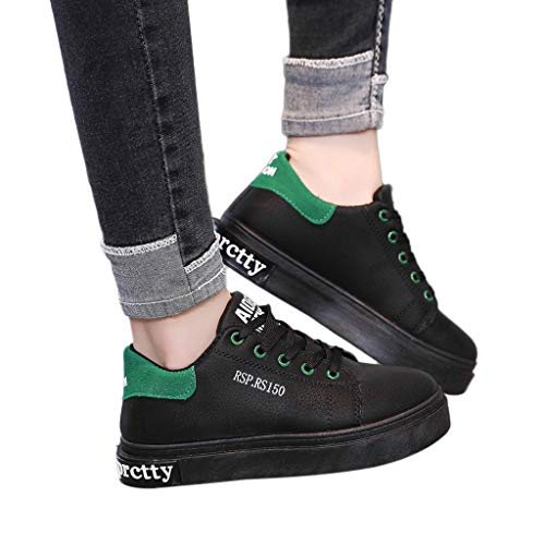 Mymyguoe Damen Flach Sneaker Runder Kopf Laufschuhe Riemchenpumps Low-Top Bootsschuhe Fitnessschuhe Leicht Sportschuhe rutschfest Freizeit Schuhe geschnürt Feste Farben Einzelne Schuhe