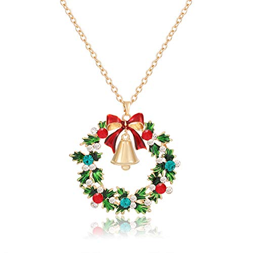 YAHPERN Christmas Necklaces for Women Glitzy Rhinestone Xmas Wreath Bell Pendant Necklace Holiday Jewelry Gift (Gold)