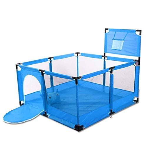 Clôture De Parc d'enfant pour Bébé, Aire De Jeux Sécurité avec Panier De Basket, Grand Centre De Jeu De Cour De Récréation pour Bébé (Color : Blue)