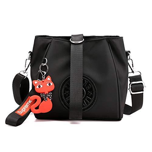 Hiigoo Women's Waterproof Oxford Totes Messenger Bag Travel Bag Shoulder Bags Handbags (Black)