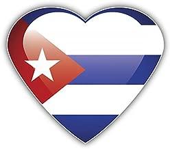 Cuba Glossy Heart Flag Pegatina de Vinilo Para la Decoracion del Vehiculo 12 X 10 cm
