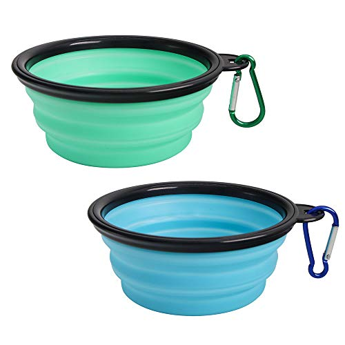 SLSON Collapsible Dog Bowl 2 Pack, Portable Silicone Pet Feeder, Foldable Expandable for Dog/Cat Food Water Feeding, Travel Bowl for Camping (Light Blue+Light Green)