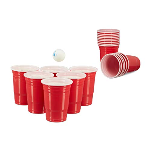 Relaxdays 200 x Beer Pong Becher, Stabiler Plastikbecher, Partybecher 16 oz/ 473 ml, Trinkbecher Softdrinks u. Bier, rot