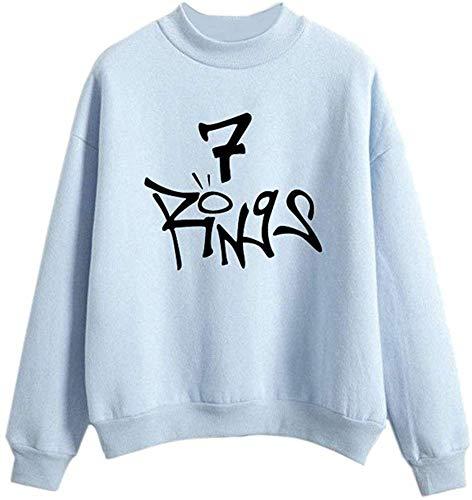 Angel ZYJ Damen Mode Ariana Grande 7 Rings Sweatshirt Music Fans Pullover Sweater mit Rundhalskragen Lange Ärmel Tops (Blau, S)