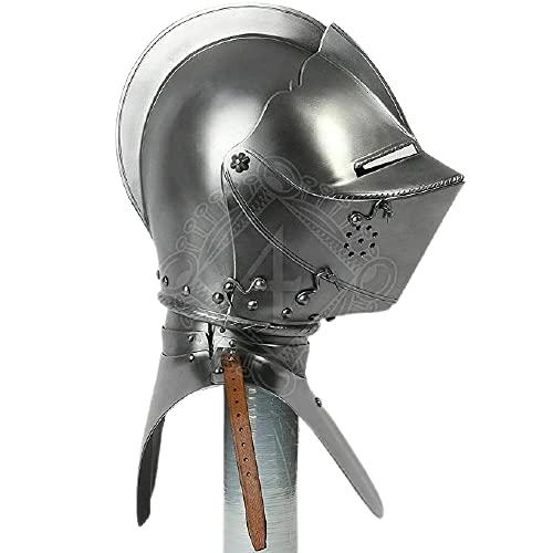 Casco antiguo retro personalizado SCA HNB calibre 14 acero medieval torneo alemán cerrado