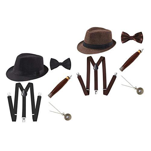 SM SunniMix 2 Juegos de Disfraces de Charleston Disfraz de Carnaval de Los años 20 Disfraz de Hombre con Sombrero Fedora - Negro + Café