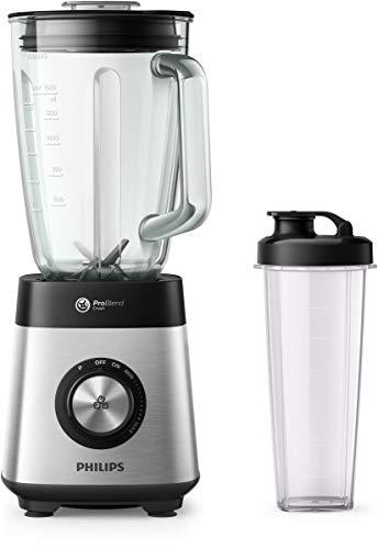 Blender Philips z serii 5000-1000 W - Pojemność 2 l - Możliwość mycia części w zmywarce - Funkcja pulsacji - Kruszenie lodu - Przenośny bidon - HR3573 90