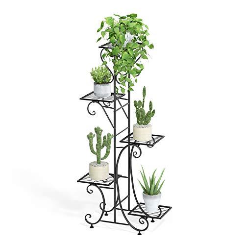 unho Tall Plant Stand Indoor 5 Tier Iron Shelf Plant Rack Outdoor Garden Metal Flower Pots Display Holder, Black