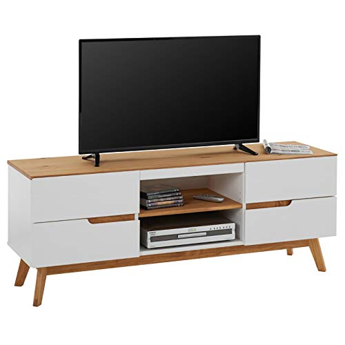 IDIMEX Meuble TV Tibor Banc télé de 149 cm au Style scandinave Design Vintage Nordique avec 4 tiroirs et 2 niches, en pin Massif lasuré Blanc