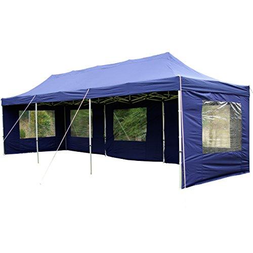 Nexos Profi Faltpavillon Partyzelt Pavillon 3x9 m mit Seitenteilen - hochwertige Ausführung - wasserdichtes Dach mit PVC-Coating - 270 g/m² incl. Tragetasche und Zubehör – Farbe: blau