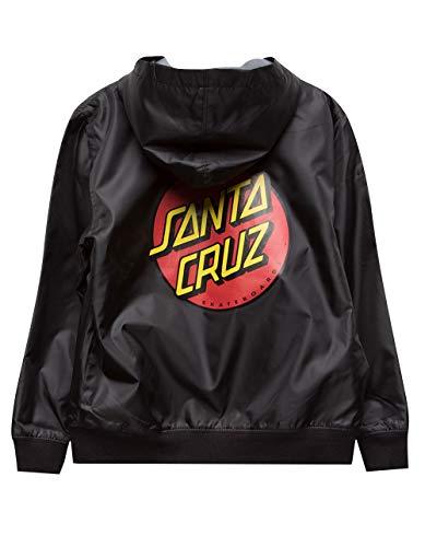 Santa Cruz Boys Dot Hooded Windbreaker Jacket Small Black