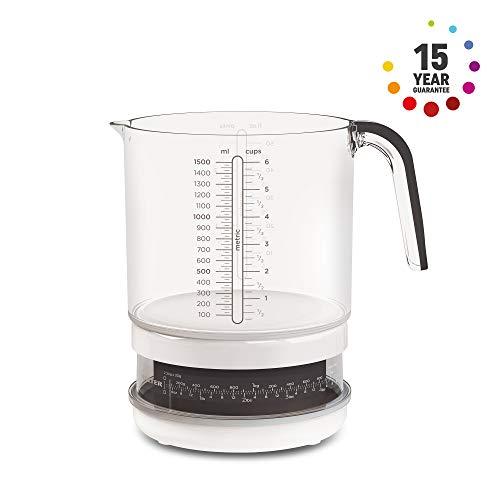 SALTER mechanische maatbekerweegschaal, 1,5 liter maatbeker met keukenweegschaal, wegen & meten, vaatwasserbestendig, voor koken & bakken, gemakkelijk afleesbare, roterende wijzerplaat