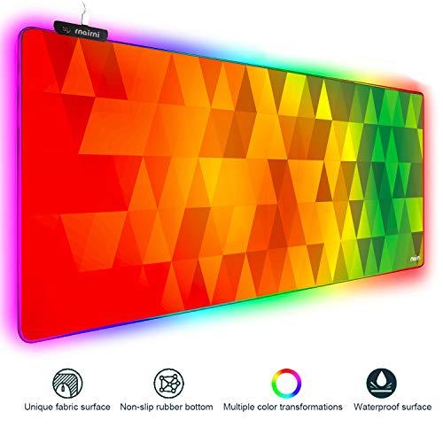Erweitertes RGB-Gaming-Mauspad, extra großes Gaming-Mauspad für Gamer, wasserdicht, mit 10 Beleuchtungsmodi, für PC, Computer, RGB-Tastatur, Maus, MacBook, 80 x 38 x 4 mm Gitter04