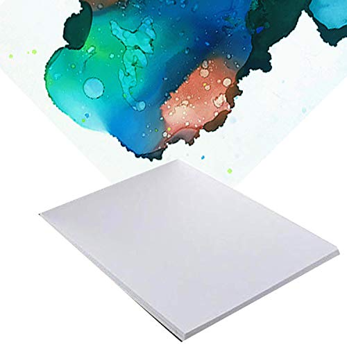 "20 Pack 8"" x 12'' Alcohol Ink and Watercolor Paper - Reusable Non-Absorbent Synthetic Paper Polypropylene for Use with Alcohol Inks, Watercolor, Acrylic Painting - Silky Smooth Compare to Yupo"