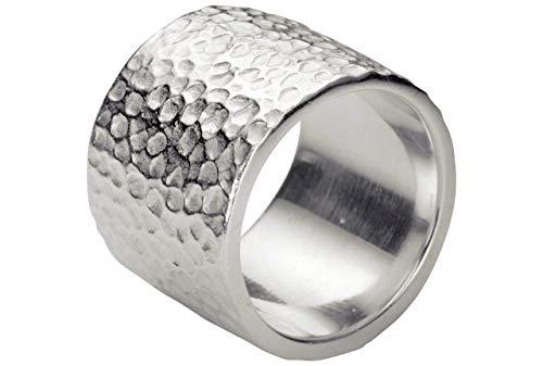 SILBERMOOS Damen Ring breiter Bandring gehämmert mit Strukturen massiv schwer matt 925 Sterling Silber, Größe:58 (18.5)