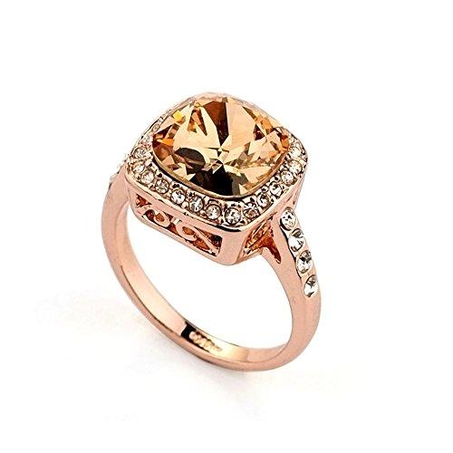 Signore - Signori Zirkonia Kristall 18k Rose Gold überzogene quadratische Champagne -Kristall-Ring umgeben Rhein Stones - Größe M