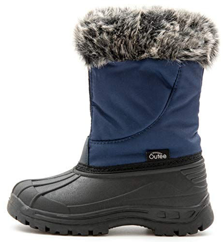 Outee Boys Snow Boots Kids Toddler Winter Warm Fur Lined Faux Lightweight Rain Boots Waterproof Outdoor Shoes Adjustable Zipper Faux Fur Design Closure (Size 11,Navy)