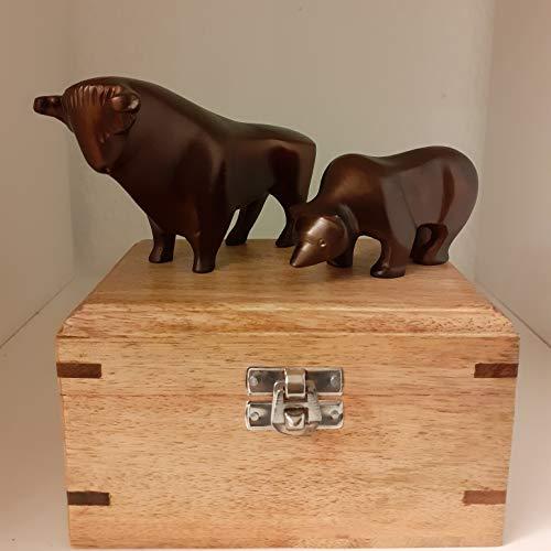 handellampe.de edle Bulle & Bär-Figuren in Bronze-Antik-Optik mit Holzbox