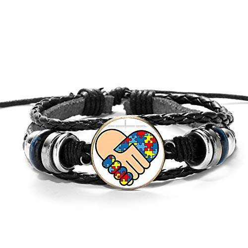 Braided Bracelets Adjustable Multilayer Unisex Couples Bracelets,Hand Shake With Jigsaw Puzzle Piece Autism Awareness Punk Style,Bangle Hand Chain Cuff Jewelry Gifts,For Men Women Jewelry Accessorie