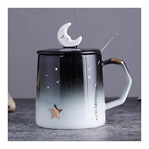 Tazas de café expreso Tazas románticas de cerámica de Cielo Estrellado de 13.5 oz con Tapa Cuchara Plateada Tazas de Porcelana Café Leche Té Taza de Viaje de Oficina para Mujeres Amantes Amigos Rega