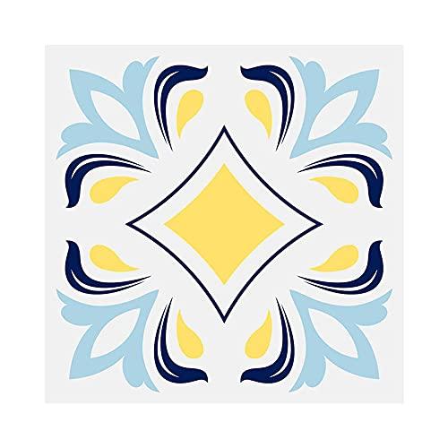 Etiquetas Engomadas Del Azulejo Auto Adhesiva Pared Para La Decoración Casera de Pegatinas Pared Impermeables Cocina Pegatinas SueloGeometría amarilla (lentejuelas) 20 X 20cm(10pcs)