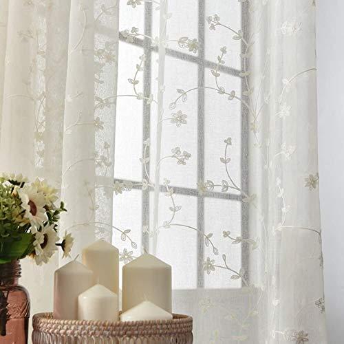 Fly scherm deur Katoen en linnen Sheer gordijnen, Venster scree Embroidery Gaas for slaapkamer woonkamer Balkon erker Invisible zand gordijn (Color : White, Size : 200x230cm(79x91inch))