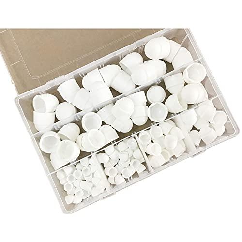 Juego de tuercas de plástico de 145 piezas surtidas, M4 M5 M6 M8 M10 M12 Tornillo (blanco)
