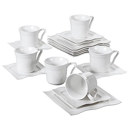 MALACASA, Serie Mario, 18 TLG. Set Cremeweiß Porzellan Kaffeeservice Geschirrset 6 Stück Kuchenteller, 6 Stück 220ml Kaffeetasse mit 6 Stück Untertasse für 6 Personen