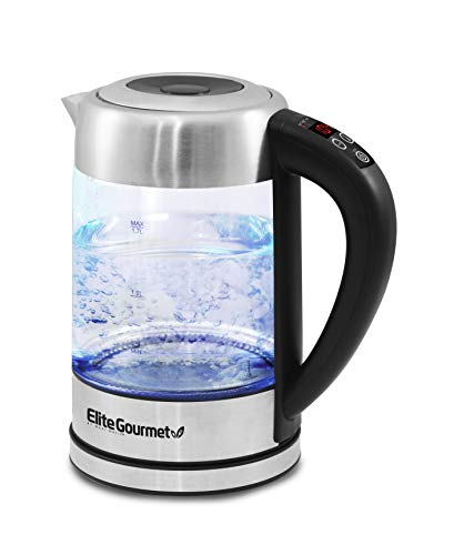Elite Gourmet EKT-1789D Electric Programmable Cordless Glass Kettle w  5 Temperatures Tea & Coffee, BPA-Free, Water Sterilizer, Auto Shut-Off & Keep Warm Function, 1.7L (7.2 Cups), Black