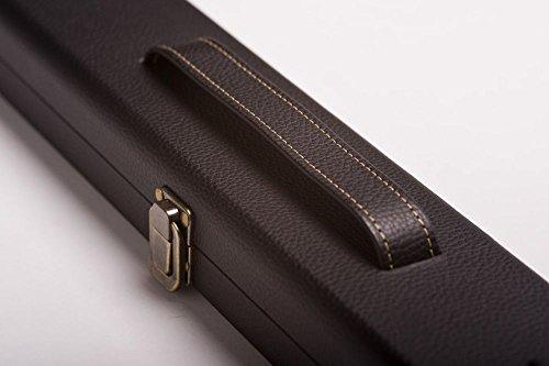 CUEL Snooker-Koffer Pro für Snooker-Queues mit 3/4-Teilung, aus Kunstleder mit Kreidefach und Raum für eine Extension