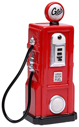 StealStreet SS-CG-62519, 6.25 Inch Ceramic Painted Red Old Fashion Gas Pump Money Piggy Bank