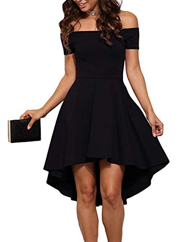 Seamido Women's Off The Shoulder High Low Party Cocktail Skater Dress Black Medium