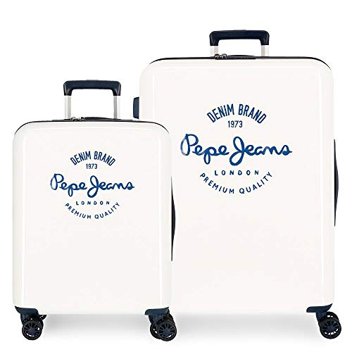 Pepe Jeans Nolan White Suitcase Set 55/70 cm Rigid ABS Integrated TSA Closure 119.4 L 7.2 kg 4 Wheels Double Hand Luggage