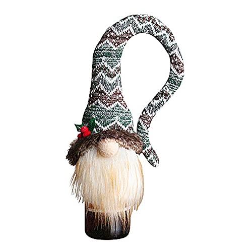 ZhangyJ Botella de vino Decoración-Muñeca sin rostro de Navidad Gorro largo de punto, reutilizable de alta calidad botella de vino tinto tapa de champán botella de regalo de Navidad