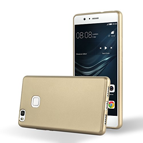 Cadorabo Funda para Huawei P9 Lite en Metallic Oro - Cubierta Proteccíon de Silicona TPU Delgada e Flexible con Antichoque - Gel Case Cover Carcasa Ligera