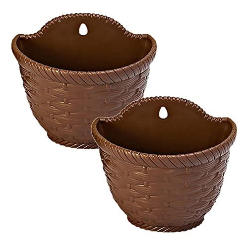 ZIS 2 macetas tejidas de ratán para colgar cestas de flores, macetas, macetas, macetas de plástico, bonsái, suministros de jardinería (beige L) (color: café)