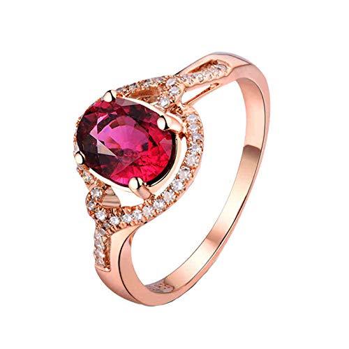 AnazoZ Anillos Turmalina Mujer,Anillos de Boda de Oro Rosa de 18 Kilates Oro Rosa y Rosa Roja Oval Turmalina Rosa 1.14ct Diamante 0.15ct Talla 20