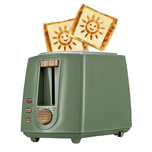 ACOMG Edelstahl-elektrischer Toaster-Haushalts-automatisches Brotbacken, schnelle Heizungs-Brotmaschine, Mehrfarbenwahlweise freigestellt, mit einem Smiley-Gesichts-Muster,Green