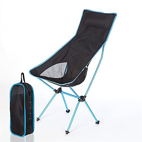 MJJCY Ultraligero Silla de Camping Plegable al Aire Libre Picnic Hiking Travel Ocio Mochila Playa Plegable Luna Silla Pesca Pesca Silla portátil (Color : Sky Blue)