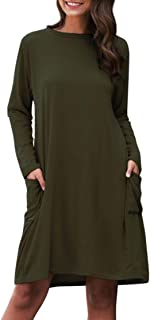 فستان جديد عصري صيفي 2020 طويل الاكمام فضفاض بلون واحد وجيب للنساء، لون اخضر