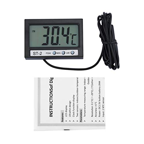ST-2 Auto LCD Digital Thermometer wasserdicht innen außen elektronische Uhr Gefrierschrank Aquarium Temperatur Meter -50~70 Celsius - schwarz