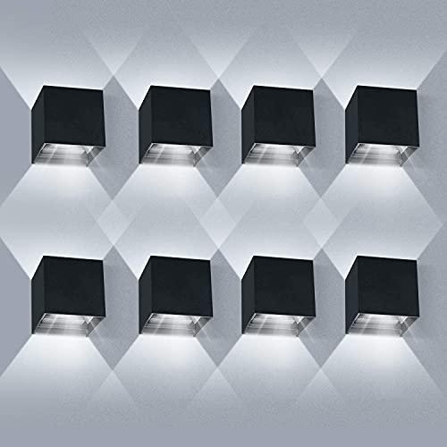 ledmo 8 Piezas Apliques de exterior 6000K Blanco Frío,Aplique Pared Exterior Ángulo de Haz Ajustable, Impermeable IP65 (Negro)