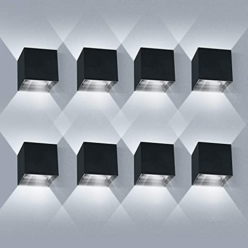 8 Piezas Aplique Pared Interior/Exterior 12W 6000K Aplique de pared Ángulo de Haz Ajustable Aplique Pared LED Impermeable IP65(Negro)