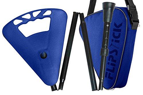 Flipstick Teleskop-Sitzstock faltbar royalblau mit Tasche