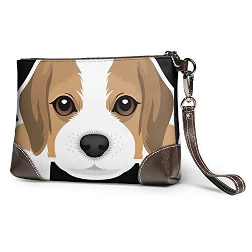 Echt lederen portemonnees voor vrouwen rits rond polsband lange portemonnee vintage reliëf rundleer capaciteit handgemaakte koppeling Beagle hond