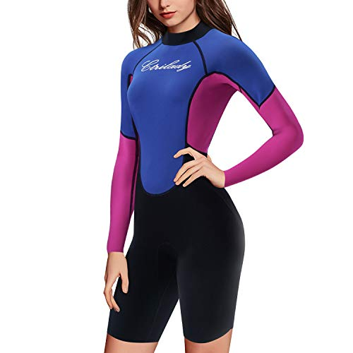 CtriLady Wetsuit for Women 1.5mm Neoprene Shorty Wetsuit Long Sleeve Diving Suits with Back Zipper UV Protection Full Body Swimwear for Swimming Diving Surfing Kayaking Snorkeling (Blue, XXX-Large)